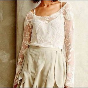 Everleigh Ivory Sheer Lace Long Sleeve Blouse M